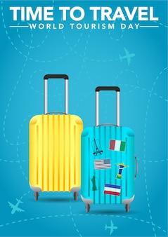 Światowy dzień turystyki plakat z elementami walizki.