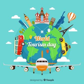 Światowy dzień turystyki pojęcie z płaskim projektem