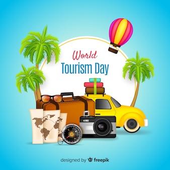 Światowy dzień turystyki pojęcie z realistycznym projektem