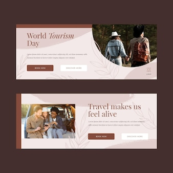 Światowy dzień turystyki poziome banery ze zdjęciem
