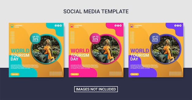 Światowy dzień turystyki szablon postu w mediach społecznościowych