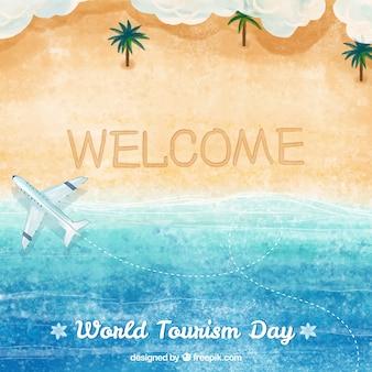 Światowy dzień turystyki, tło akwarela z plażą
