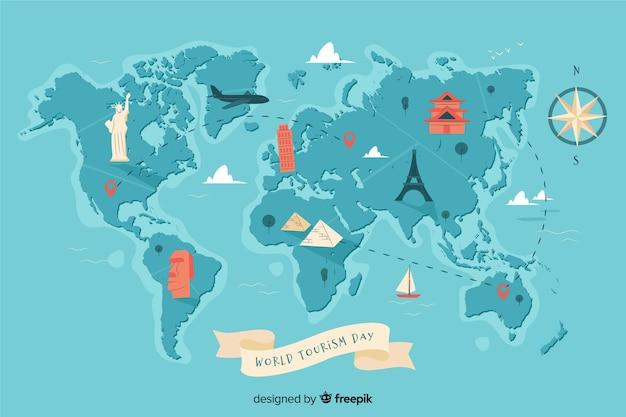 Światowy dzień turystyki tło z zabytkami i transportem