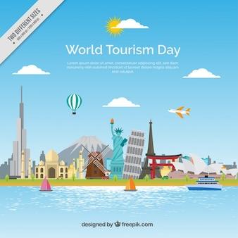 Światowy dzień turystyki tło z zabytkami