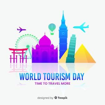 Światowy dzień turystyki tło z zabytków i transportu