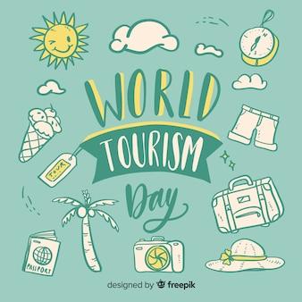 Światowy dzień turystyki z napisem obiektów podróży