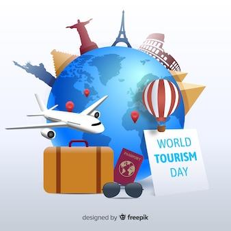 Światowy dzień turystyki z płaską konstrukcją