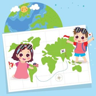 Światowy dzień turystyki z tłem dla dzieci