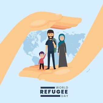 Światowy dzień uchodźcy celebracja płaska konstrukcja
