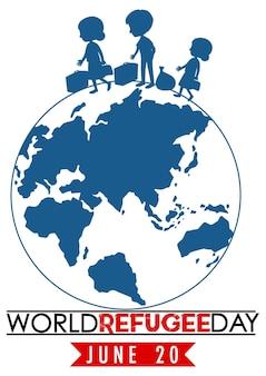Światowy dzień uchodźcy transparent ze znakiem kuli ziemskiej na białym tle