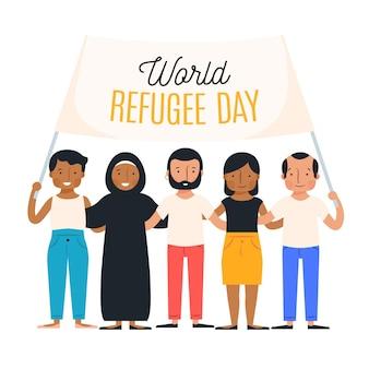 Światowy dzień uchodźcy w płaskiej konstrukcji
