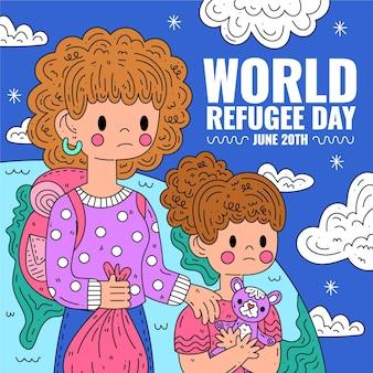 Światowy dzień uchodźcy z kobietą i dziewczynką