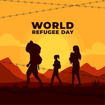 Światowy dzień uchodźcy z sylwetkami i drutem kolczastym