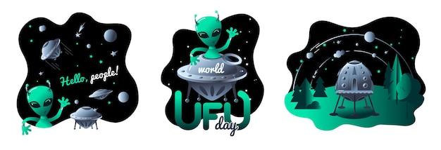 Światowy dzień ufo latające spodki w kosmosie i uroczy kosmita