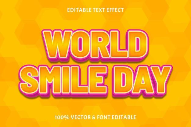 Światowy dzień uśmiechu edytowalny efekt tekstowy 3-wymiarowy nowoczesny styl