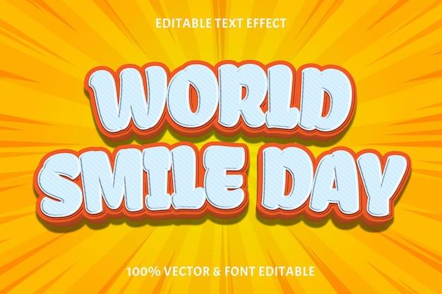 Światowy dzień uśmiechu edytowalny efekt tekstowy 3-wymiarowy styl komiksowy