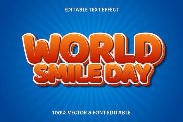 Światowy dzień uśmiechu edytowalny efekt tekstowy kolor pomarańczowy 3-wymiarowy styl komiksowy