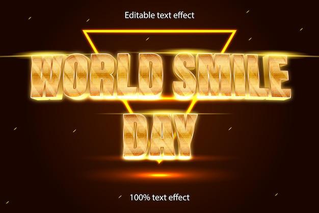Światowy dzień uśmiechu edytowalny efekt tekstowy retro neon w nowoczesnym stylu