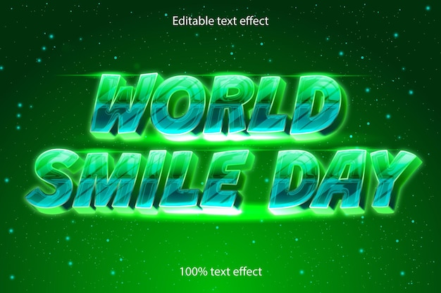 Światowy dzień uśmiechu edytowalny efekt tekstowy retro w nowoczesnym stylu
