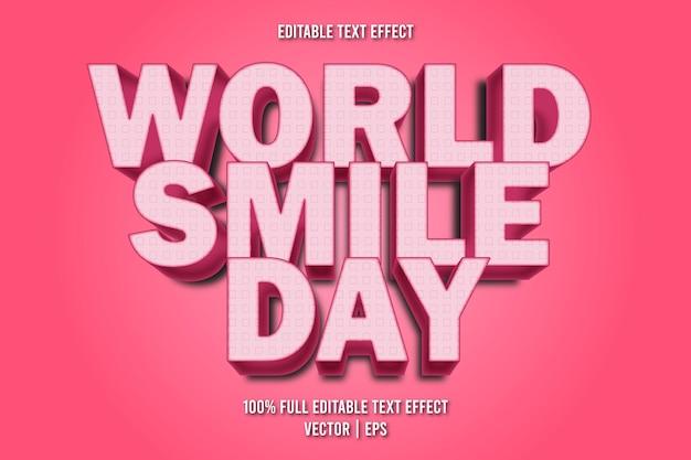 Światowy dzień uśmiechu edytowalny efekt tekstowy w stylu cartoon