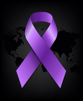 Światowy dzień walki z rakiem i fioletowa wstążka