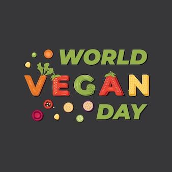 Światowy dzień wegański - projekt transparentu z napisem. ilustracja.