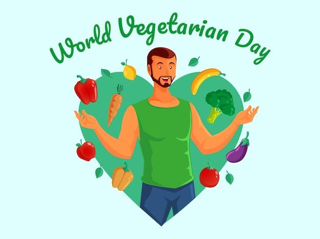 Światowy dzień wegetarianizmu ze zdrowymi mężczyznami
