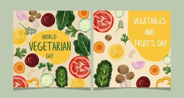 Światowy dzień wegetariański baner szablonów mediów społecznościowych