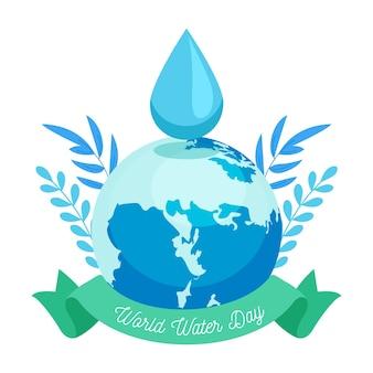 Światowy dzień wody ilustracja z kroplą planety i wody