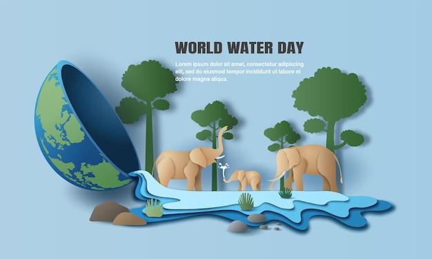 Światowy dzień wody, krajobraz rodziny słoni z drzewami, woda wypływa z ziemi.