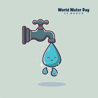 Światowy dzień wody ładny kreskówka kropla