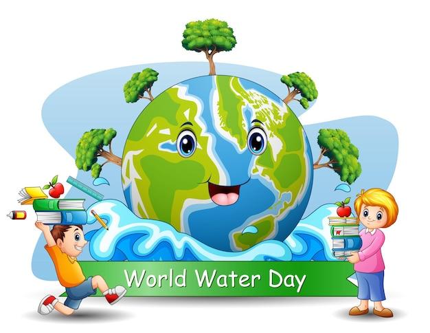 Światowy dzień wody z nauczycielem i uczniem