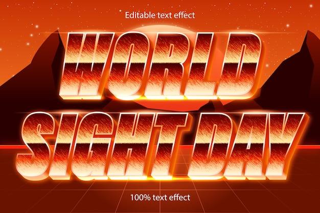 Światowy dzień wzroku edytowalny efekt tekstowy w stylu retro