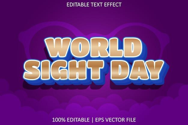 Światowy dzień wzroku z efektem edycji tekstu w nowoczesnym stylu