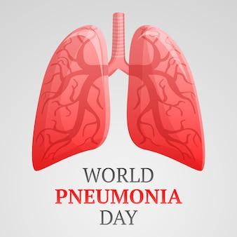Światowy dzień zapalenia płuc tło, kreskówka styl
