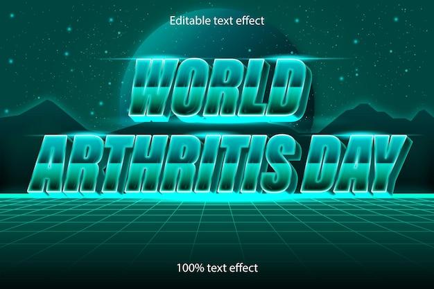 Światowy dzień zapalenia stawów edytowalny efekt tekstowy w stylu retro