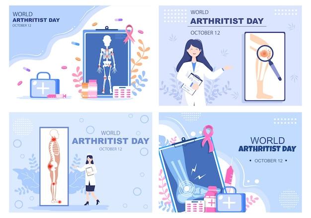 Światowy dzień zapalenia stawów tło wektor ilustracja leczenie medyczne reumatyzm, choroba zwyrodnieniowa stawów, skanowanie rentgenowskie i zdrowie kości