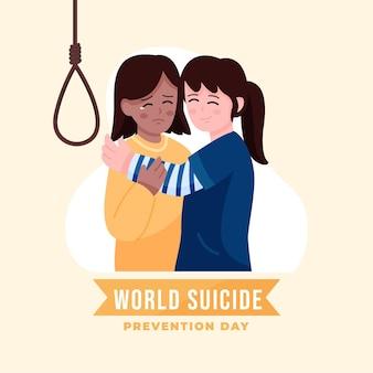 Światowy dzień zapobiegania samobójstwom z przytulającymi się kobietami