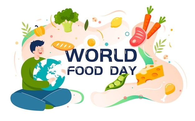 Światowy dzień zdrowego odżywiania ilustracja zielony plakat bezpieczeństwa żywności