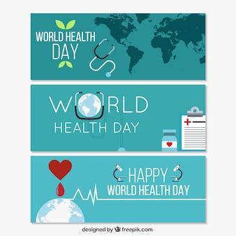 Światowy Dzień Zdrowia Banery Darmowych Wektorów