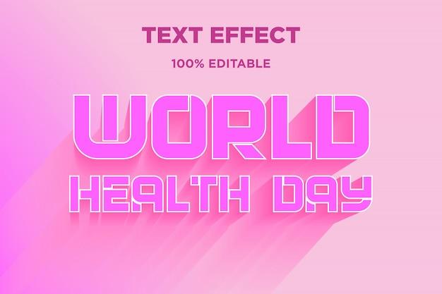 Światowy dzień zdrowia efekt 3d styl tekstu