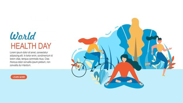 Światowy dzień zdrowia kobieta sport szkolenia na zewnątrz