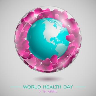 Światowy dzień zdrowia. kompozycja z globusami w szklanej kuli