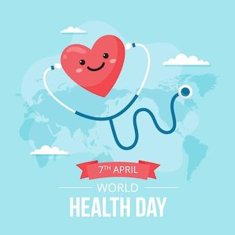 Światowy dzień zdrowia płaska konstrukcja tło