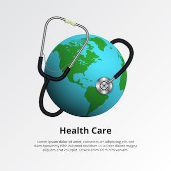 Światowy dzień zdrowia. pojęcie opieki zdrowotnej ilustracja medyczny. stetoskop z kuli ziemskiej