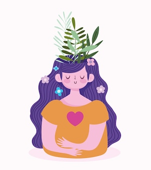 Światowy dzień zdrowia psychicznego, dziewczyna z liśćmi w mózgu