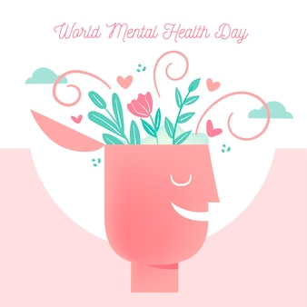 Światowy dzień zdrowia psychicznego ręcznie rysowane projekt