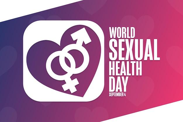 Światowy dzień zdrowia seksualnego. 4 września. koncepcja wakacji. szablon tła, baner, karta, plakat z napisem tekstowym. ilustracja wektorowa eps10.