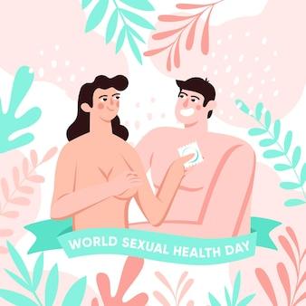 Światowy dzień zdrowia seksualnego kobieta trzyma prezerwatywę