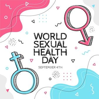 Światowy dzień zdrowia seksualnego w stylu memphis